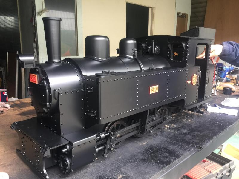 Taiwan steam outline engine using battery power with sound and smoke unit.